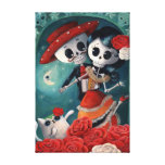 Amantes mexicanos esqueléticos muertos impresiones de lienzo