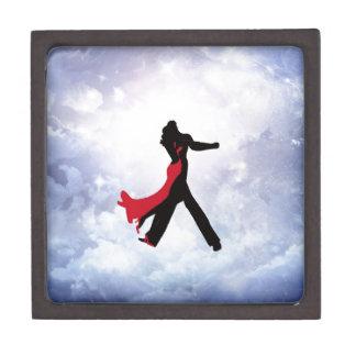 Amantes que bailan en la estrella del amor caja de recuerdo de calidad