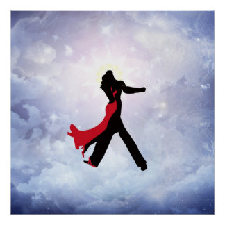 Amantes que bailan en la estrella del amor póster
