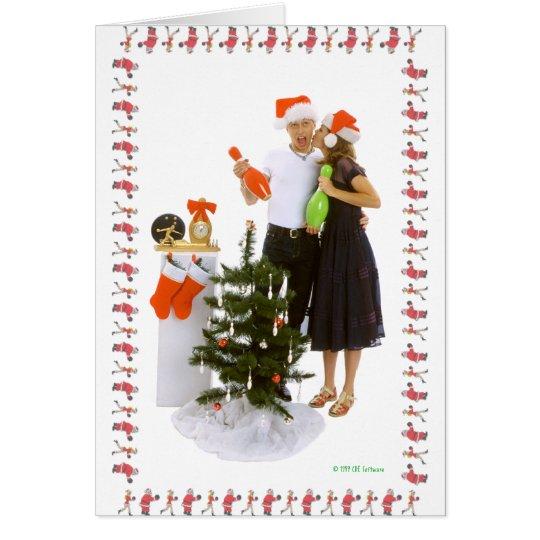 Amantes que ruedan del navidad tarjeta de felicitación
