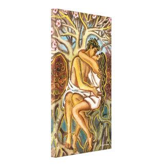 Amantes que se besan debajo de un árbol impresión en lienzo