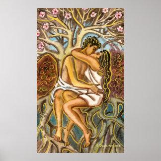 Amantes que se besan debajo de un árbol póster