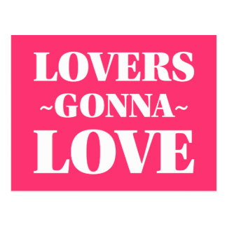 Amantes que van a amar blanco y magenta adaptables tarjeta postal
