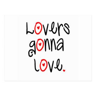 Amantes que van a amar la materia postales