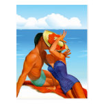 Amantes retros del verano tarjeta postal