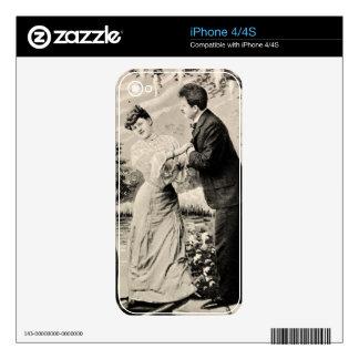 Amantes románticos del vintage en un barco iPhone 4 calcomanía