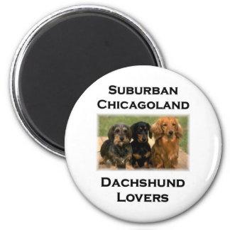 Amantes suburbanos del Dachshund de Chicagoland Imán Redondo 5 Cm