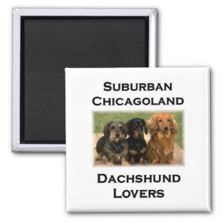 Amantes suburbanos del Dachshund de Chicagoland Imán Cuadrado