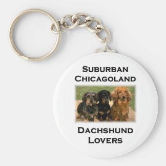 Amantes suburbanos del Dachshund de Chicagoland Llavero Redondo Tipo Pin