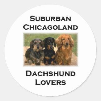 Amantes suburbanos del Dachshund de Chicagoland Pegatina Redonda