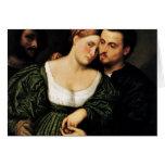 Amantes venecianos de Bordone París (la mejor cali Felicitación
