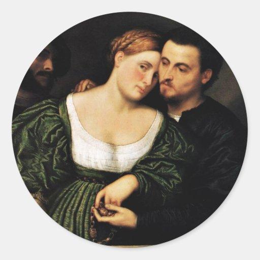Amantes venecianos de Bordone París (la mejor Etiqueta Redonda