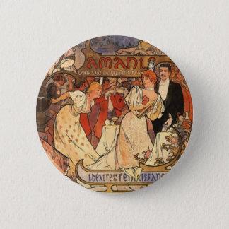Amants, Alphonse Mucha Button