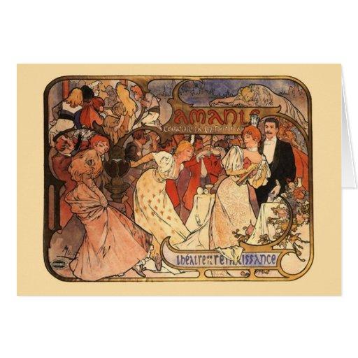 Amants, Alphonse Mucha Card