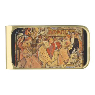 Amants Theatre Party with Champagne Gold Finish Money Clip