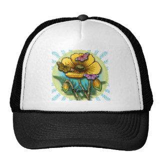 Amapola amarilla de la mariposa gorra