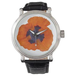 Amapola anaranjada 1 del escarlata relojes de mano