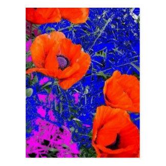 Amapola anaranjada en jardín de flores azul por SH Postal