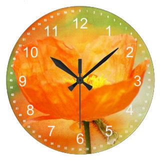 Amapola anaranjada reloj redondo grande