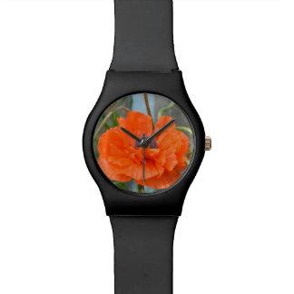 Amapola anaranjada relojes de pulsera