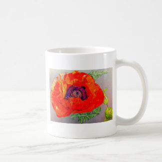 Amapola anaranjada roja taza de café