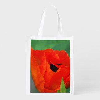 Amapola anaranjada vibrante bolsas reutilizables