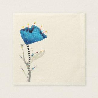 Amapola azul de la acuarela servilleta de papel