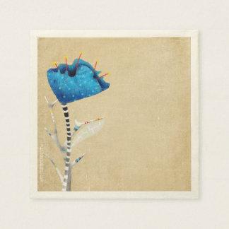 Amapola azul de la acuarela servilletas de papel