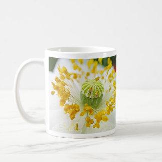 Amapola blanca delicada tazas de café