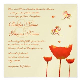 """Amapola-Buttflies y corazones anaranjados que Invitación 5.25"""" X 5.25"""""""