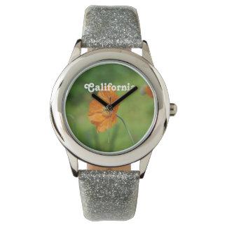 Amapola de California anaranjada Reloj De Mano