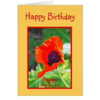 Amapola del cumpleaños de agosto del feliz tarjeta de felicitación
