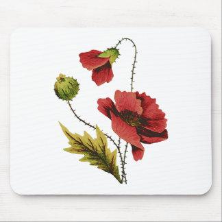 Amapola del rojo del bordado de la lana para borda alfombrillas de raton