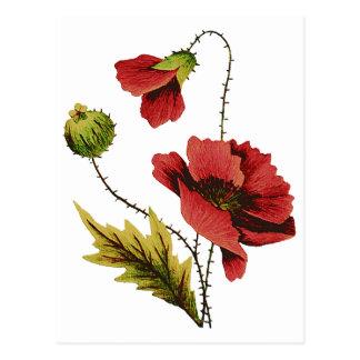 Amapola del rojo del bordado de la lana para tarjeta postal