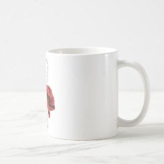 Amapola del rojo del bordado de la lana para taza