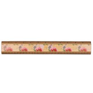 Amapola del vintage floral regla de arce