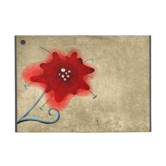 Amapola elegante del rojo de Swirly de la hoja iPad Mini Carcasa