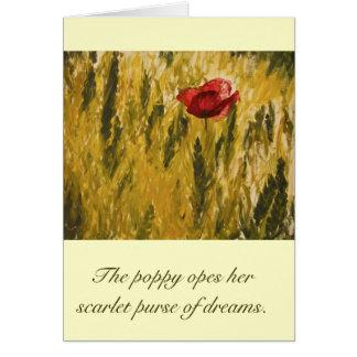 Amapola en el campo de trigo tarjeta de felicitación