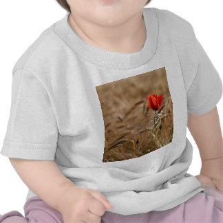 Amapola en un campo de maíz camisetas