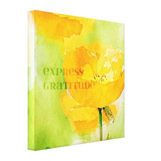 Amapola expresa del naranja de la gratitud impresiones en lona estiradas