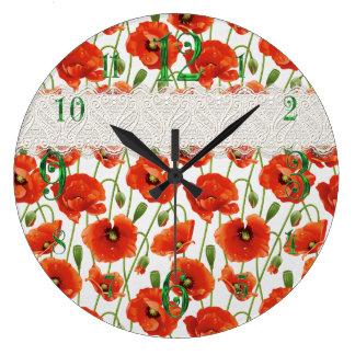Amapola floreciente roja reloj redondo grande