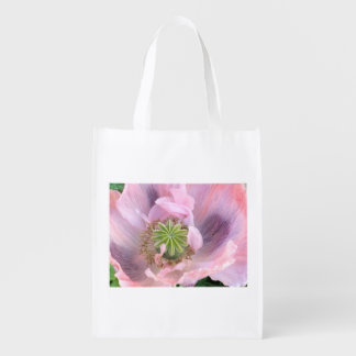 Amapola oriental rosada bolsa reutilizable