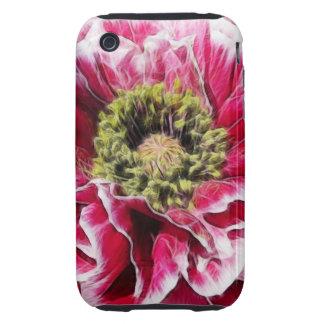 Amapola rizada - color de rosa rico iPhone 3 tough fundas