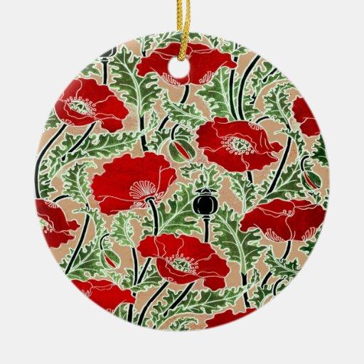 Amapola roja adorno navideño redondo de cerámica
