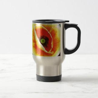 Amapola roja amarilla del vintage taza de viaje