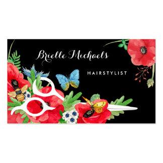 Amapola roja del Hairstylist precioso floral con Tarjetas De Visita