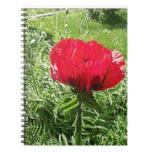 Amapola roja del plástico suave cuadernos