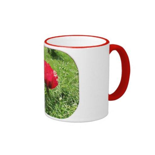 Amapola roja del plástico suave taza de dos colores