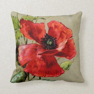 Amapola roja del vintage - almohada