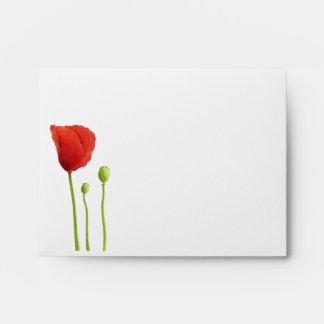 Amapola roja dentro del sobre rojo de la tarjeta d